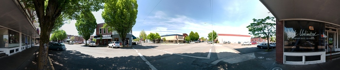 360 degrees panorama of downtown Corvallis, OR, USA on 2nd street