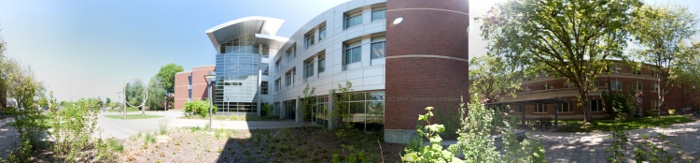 360 degrees panorama of the Kelly Engineering building on Oregon State University (OSU) campus in Corvallis, OR, USA